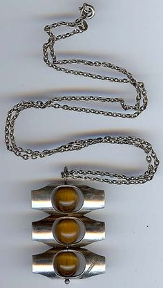 KULTASEPPA FINLAND STERLING SILVER TIGEREYE MODERNIST NECKLACE