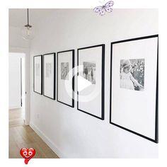 modern wall gallery in modern neutral hallway design, framed photos in hallway or modern foyer wall art ideas, black and white framed photos in modern living room design #livingroom<br>