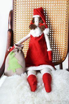 Tilda Doll Mrs Claus Christmas Cloth Big Handmade by JirsaFELT
