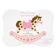Pink Big Rocking Horse Baby Shower Invitations