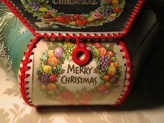 Vintage Christmas CardBasket