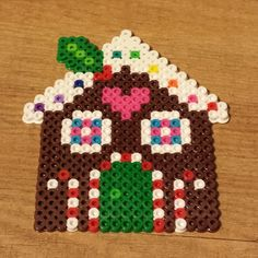 Christmas gingerbread house perler beads by robozippy