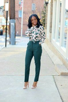 Great green outfit with dark green pants and floral dressy blouse