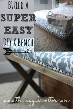 super easy diy x upholstered bench, reupholster, woodworking projects Super easy DIY X upholstered bench, upholstery, woodworking projects Wood Projects For Beginners, Diy Wood Projects, Furniture Projects, Diy Furniture, Furniture Outlet, Furniture Stores, Bedroom Furniture, Modern Furniture, Modern Dresser