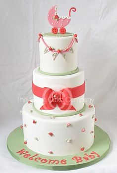 Rosette Baby Shower Cake Maybe change the green to aqua blue