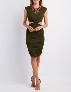 Knot Waist Cut-Out Bodycon Dress: Charlotte Russe
