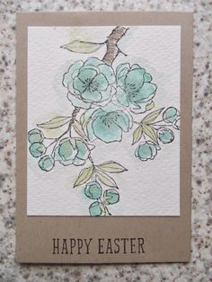 Indescribable Gift stamped with Staz-On ink onto watercolor paper & colored with Aqua painters & ink