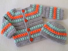 Crochet baby sweater cardigan and hat set, baby shower gift, baby girl boy silver grey mint orange cardigan and hat, unisex baby sweater Crochet Baby Sweaters, Crochet Baby Bonnet, Crochet Baby Cardigan, Baby Girl Crochet, Crochet Baby Clothes, Crochet For Boys, Baby Blanket Crochet, Booties Crochet, Crochet Hats