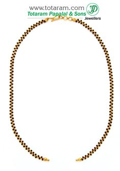 22K Gold Black Beads Chain in Length 16.5 inches