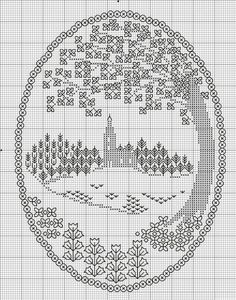 Comentaris: LiveInternet - Russian serveis en línia Diaries --- modify to remove church and make a rectangle instead of oval Biscornu Cross Stitch, Blackwork Cross Stitch, Blackwork Embroidery, Cross Stitch Tree, Learn Embroidery, Cross Stitch Kits, Cross Stitch Designs, Cross Stitching, Cross Stitch Embroidery
