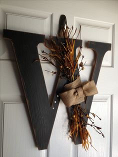 """Fall Monogram wreath - Promoting for my friend Alicia. Go """"Like"""" her Facebook page for more!"""