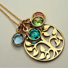 14K Gold Swarovski Crystal Birthstone Family 'Tree of Life' Necklace