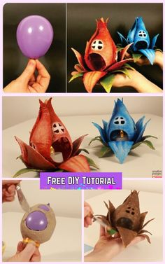 DIY Fairy House Flower Tealight Guide with Balloon- DIY-Fee-Hausblume-Teelicht-Anleitung mit Ballon DIY Fairy House Flower Tealight Guide with Balloon - Pot Mason Diy, Mason Jar Crafts, Bottle Crafts, Diy Home Decor Projects, Diy Projects To Try, Ballon Diy, Fleurs Diy, Diy Hanging Shelves, Fairy Crafts