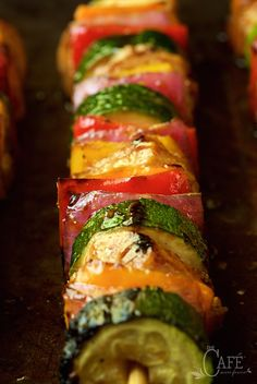 Asian Barbecued Chicken and Veggie Skewers - these fun, easy grilled skewers are sweet and sticky with a touch of heat. They never fail to bring rave reviews!