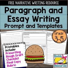FREE PRODUCT! There are student printables for both paragraph and essay writing. The prompt was chosen to fit both paragraph and essay writing to offer differentiation. Print them front/back and staple!