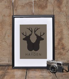 Personalized Modern Nursery Art Print // Woodland Nursery Wall Art Poster // Custom Kids Room Art Print // Deer Head Dorm Decor