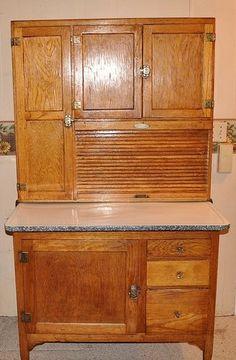 Antique Oak Hoosier Kitchen Cabinet Cupboard w Flour Bin Sifter 1900's RARE | eBay