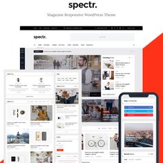 Spectr - Responsive News and Magazine Website Template Business Website Templates, Restaurant Website Templates, Best Website Templates, Free Graphic Design Software, Word Template Design, Magazine Website, 3d Christmas, Clip Art, Website Themes