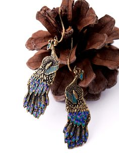 Vintage Phenix Alloy Dangle Earrings