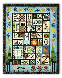 This delightful ABC sampler quilt, A to Z for Ewe and Me, was designed by Janet Stone, and is now available as a Block of the Month by RJR Fabrics!