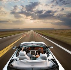 Couple driving convertible through remote area - John Lund/Blend Images/Getty Images Vw Eos, Blend Images, Romantic Weekend Getaways, Ford Mustang Convertible, Early Retirement, Advertising Photography, Car Pictures, Car Pics, Best Day Ever