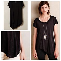 "Anthro black T Gently worn. Really lightweight and breezy slub T. Has a really cute hemline to add interest. Just too long for my petite daughter.  By Left of Center Cotton Machine wash 27""L Anthropologie Tops Tees - Short Sleeve"