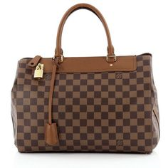 Pre-Owned Louis Vuitton Greenwich Bag Damier (6 995 PLN) ❤ liked on Polyvore featuring bags, handbags, brown, brown leather purse, genuine leather purse, kiss-lock handbags, genuine leather handbags and brown handbags