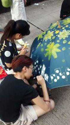 Painting Umbrellas in the Umbrella Revolution, Hong Kong