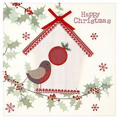 ASDA Luxury Glitter and Bow Robin Christmas Cards - 5 pack
