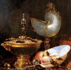 Willem Kalf. Pronk Still Life with Nautilus Cup, Holbein Bowl, Glass Goblet, and Fruit Dish. 1678. detail
