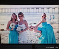 photobomb--just sayin, this might need to happen...  Bonus! Blue dresses!