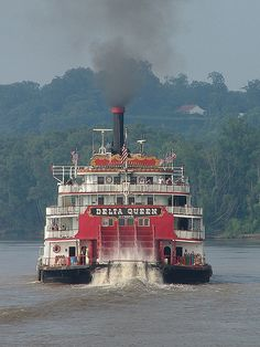The Delta Queen, famous old riverboat that ruled the Ohio river until a few years ago, she is all wood, had to be retired, love those river  boats