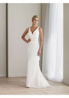 Chiffon Gathered V-neck Rouched Waistband With Beaded Flower Accent Sheath Gown With Ruffled V-back Spilling Into Sweep Train Ho
