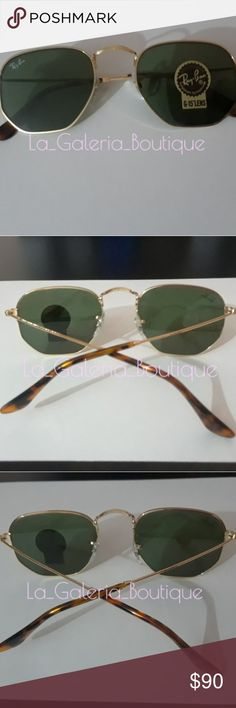 Ray Ban Hexagonal Classic 3548 001 Excellent like New condition. Size standard 51-21 and  the color of lens is green classic. Comes with the original retail packaging, brown case, cleaning cloth and booklets. Ship same day! Thanks for looking at my closet! Ray-Ban Accessories Sunglasses