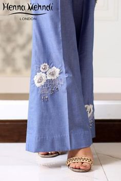 Denim Blue Embroidered Trousers