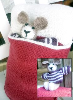 Free Knitting Pattern of Bunny in a Pillow - This pattern includes instructions for a pillow cover with a pocket and a bunny rabbit toy with removable sweater who can use the pillow as a sleeping bag. Pillow is 16″ X 12″. Designed by Marissa Ramsey.