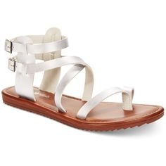 Seven Dials Sync Flat Gladiator Sandals ($49) ❤ liked on Polyvore featuring shoes, sandals, silver, ankle wrap flat sandals, strappy sandals, greek sandals, flat sandals and strap sandals