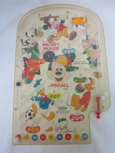 Mickey Mouse Pinball Game Vintage Childrens Toy Collectible