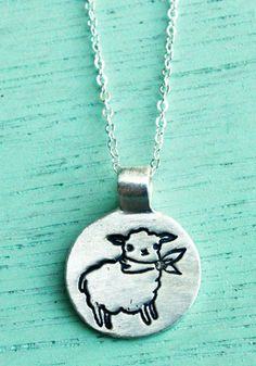 """Mademoiselle Bah"", handmade silver necklace. From http://shop.boygirlparty.com #sheep #lamb #necklace #jewelry"