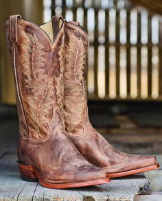 Men's El Paso Worn Goat N Toe Western Boot, Tan