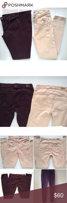 "Bundle Of 2 Paige Jeans Pants Peg Skinny Zip Bundle Of 2 size 27 Paige jeans. Retail at $176 each. The deep purple are the Paige ""Peg Skinny"" style and measure approximately 32"" inseam, 28"" waist, and 7.5"" rise. The light jeans are ""sandstone"" color and are the Paige ""Cassidy Zip"" style. They measure approximately 29"" inseam, 28"" waist, and 8"" rise. Both in very good preowned condition with no flaws. ⚓️No trades or holds. I accept reasonable offers unless the item is priced at $8 or less and…"