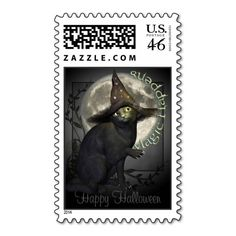 Magical Black Cat Halloween Postage