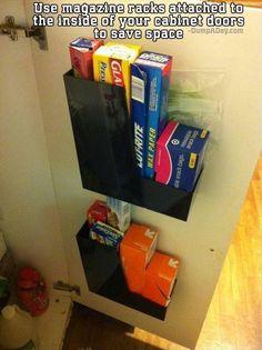 put magazine racks inside cabinets