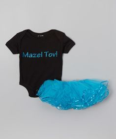 Love this Black & Turquoise 'Mazel Tov' Bodysuit & Tutu - Infant on #zulily! #zulilyfinds