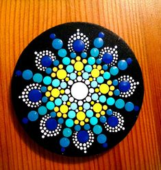 Wood Circle Magnet~ Blue & Yellow Flower Mandala~ Hand Painted by Miranda Pitrone~ Dot Art Pointillism Kitchen or Office Decor