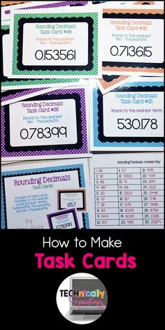 I started buying task cards long before I starting making them. I found that I started to have preferences for the cards tha. Rounding Decimals, Math Task Cards, Card Organizer, Mathematics, Math