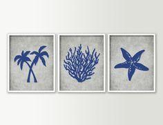 Bathroom Decor - Tropical Bathroom Wall Art - Tropical Bath Prints - Beach Bathroom Decor - Palm Trees Starfish Coral - Set of 3