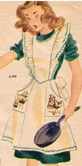 """""""The Girl Scout Apron, in a saucy pinafore style, has deep pockets and a gayly printed design....."""" Sweet!"""