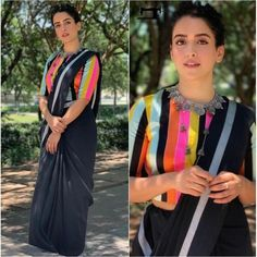 Black moss satin partywear saree with multicolored blouse
