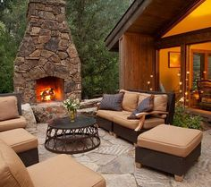 An outdoor fireplace design on your deck, patio or backyard living room instantly makes a perfect place for entertaining, creating a dramatic focal point. Brick Fireplace, Home, Patio Design, Fireplace Design, Outdoor Fireplace Designs, Fireplace, Outdoor Design, Backyard Living, Outdoor Kitchen